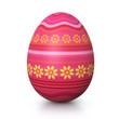 Pink painted easter egg with flower pattern