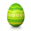 Green painted easter egg with flower pattern
