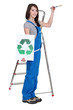 Girl painter holding brush and recycling logo