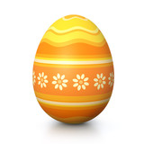 Fototapety Yellow painted easter egg with flower pattern