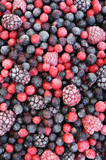 Close up of frozen mixed fruit  - berries - background