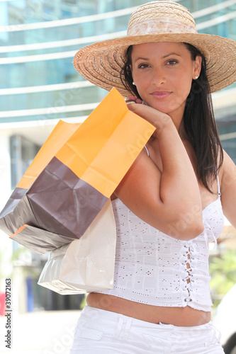 beautiful young woman shopping