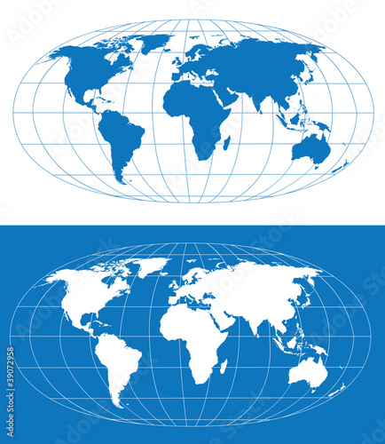 Vector world map with grid