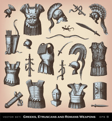 Engraving ancient Weapons illustrations