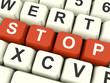Stop Computer Keys Showing Denial Panic And Negativity