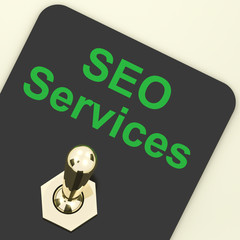 Seo Services Switch Representing Internet Optimization And Promo