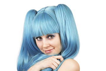 Young pretty woman with blue hair