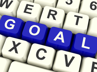 Goals Computer Keys Showing Objectives Hope And Future