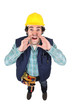 Construction worker hollering