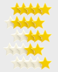 Rating system from one up to five stars