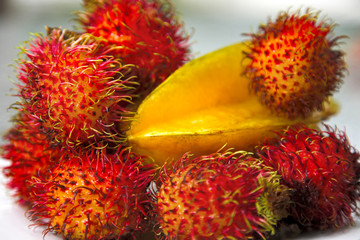 Rambutans and starfruit