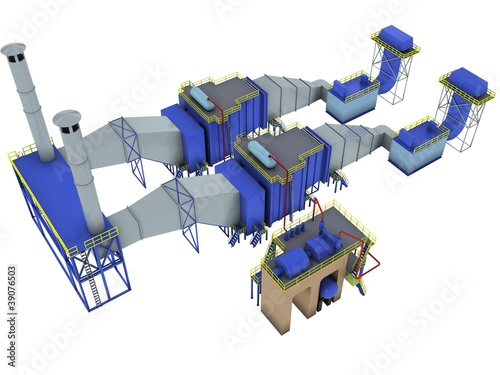 gas-turbine power plant interior, 3d render isolated on white