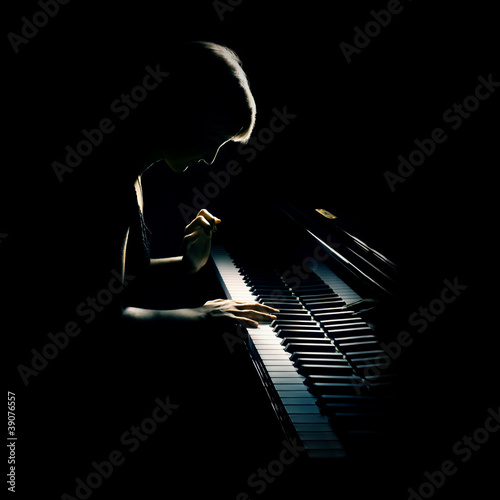 Leinwanddruck Bild Piano playing pianist concert. Classical music