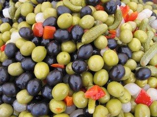Pickled olives mixed