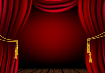 Red curtain - place for your object or text. Vector file.