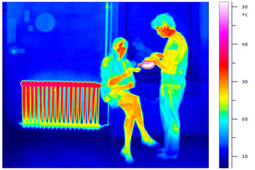 thermal imaging of a radiator and a couple with tea pot
