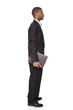African American businessman carrying notepad