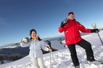 Mature skiers