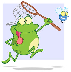 Hungry Frog Chasing Fly With A Net