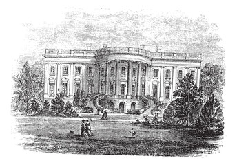 White house in Washington, D.C America vintage engraving.