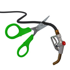 Scissors cut the fuel pump nozzle 3D rendering