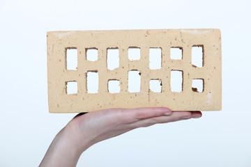 Brick on a hand