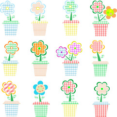 flowers in pot colorful vector set