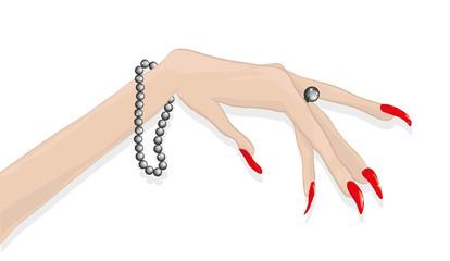 Женская рука с накрашенными ногтями