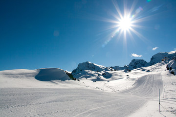 Pistes in ski resort Bonneval Sur Arc, Savoy Alps, France