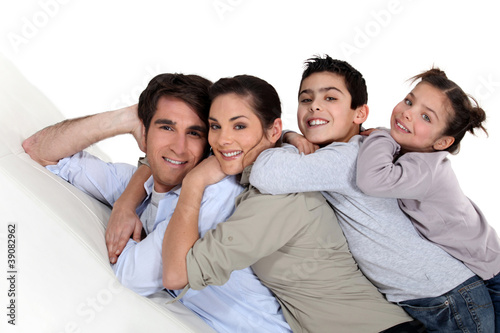 Family piled on top of each other
