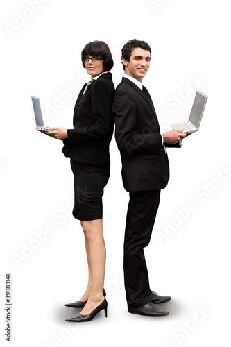 Executives with laptops standing on white background