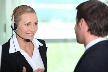 Woman informing man