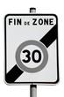Panneau de fin de zone de limitation de vitesse à 30 km/h