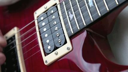 Gitarre spielen mit Saiten und Plektron