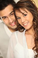 Portrait of an interracial couple