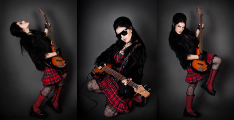 Fashion style photo of young rocked woman in studio  with guitar