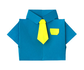 Origami blue shirt with tie