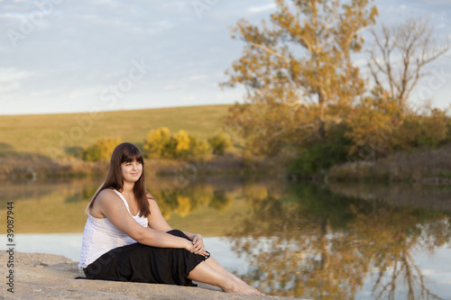 Outdoors portrait of a beautiful young lady