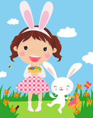 Cute girl with easter bunny and decorated eggs