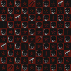 Skull and Gun Repeating Pattern Wallpaper