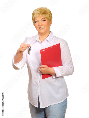 Senior woman with folder and keys