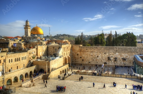 Fotobehang Midden Oosten Old City Of Jerusalem at the Wailing Wall and Dome of the Rock