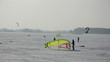 snow kiting on the winter lake ice