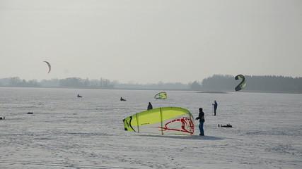 snow kiting on the winter lake ice