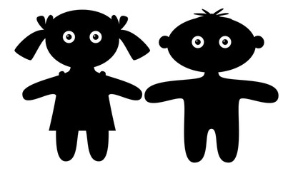 Dolls, boy and girl, silhouette