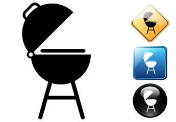 Barbecue pictogram and signs