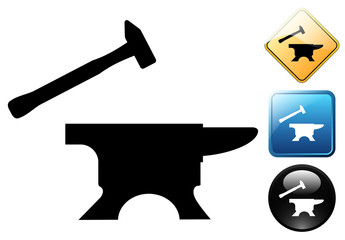Hammer and anvil pictogram and signs