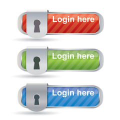 Glossy login buttons with keyhole and metal frame