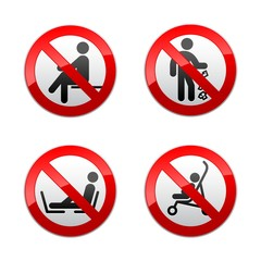 Set prohibited signs - people