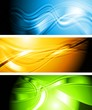 Set of vibrant wavy banners